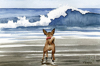 Chihuahua At The Beach Print by David Rogers