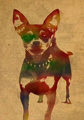 Chihuahua Watercolor Portrait On Worn Canvas Print by Design Turnpike