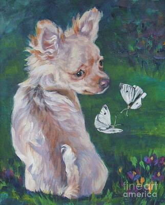 Chihuahua With Butterflies Print by Lee Ann Shepard