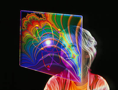 Hologram Photograph - Child Looking At Holographic Image by Mehau Kulyk