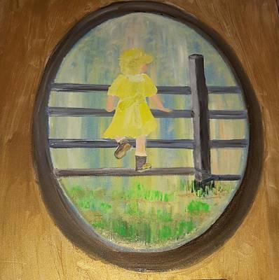 Child On Fence Original by Cindy  Riley