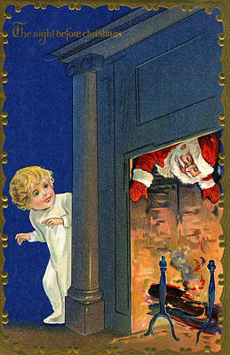 Chimney Drawing - Child Watches As Santa Comes Down Chimney On Christmas Eve by American School