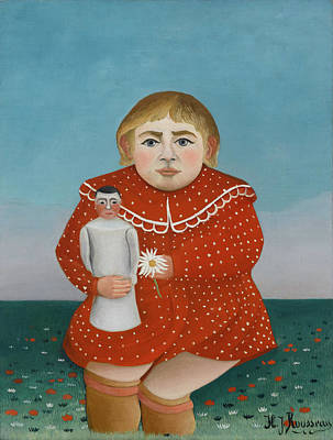 Pseudo Painting - Child With A Doll by Henri Rousseau