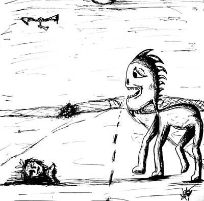 Vulture Drawing - Childlike Innocence by Jera Sky