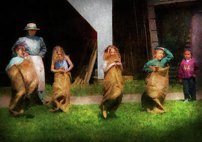 Children - The Sack Race  Print by Mike Savad