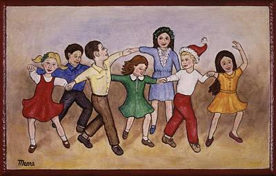 Dancing Painting - Children Celebrating Christmas by Linda Mears