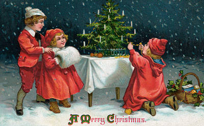 Muffler Painting - Children Decorating Christmas Tree In The Snow by American School