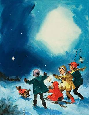 Children In The Snow Print by English School