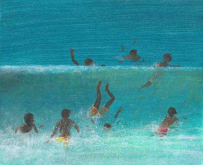 Children In The Surf Print by Lincoln Seligman