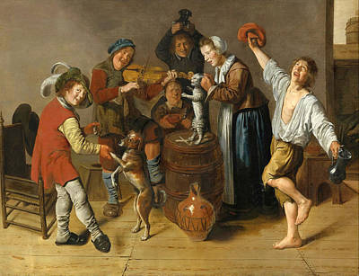 Jan Miense Molenaer Painting - Children Playing And Merrymaking by Jan Miense Molenaer