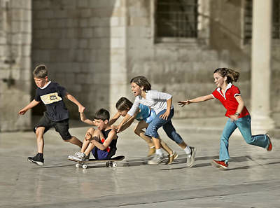 Children Playing Photograph - Children Playing In Dubrovnik by Herbert A. Franke