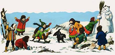 Children Stories Drawing - Children Playing In The Snow by Nadir Quinto