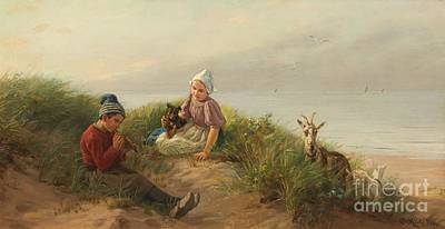 River Painting - Children Playing On The Beach With A Dog And Goats by Carl Emil Mucke