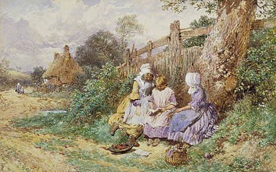 Children Reading Beside A Country Lane Print by Myles Birket Foster