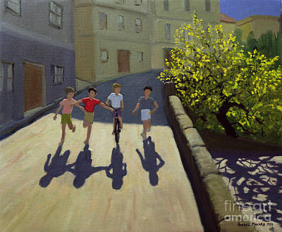 Cycle Painting - Children Running by Andrew Macara