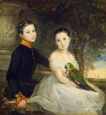 Animation Painting - Children With A Parrot by Christina Robertson