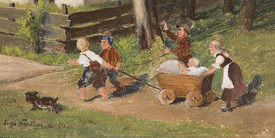 Painting - Children With Cart Young by Hugo Kauffmann