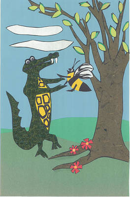 Alligator Mixed Media - Children's Poster #2 by Connie Thomas