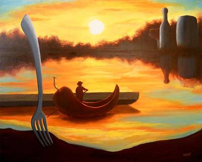 Italian Wine Painting - Chile Gondola by Michael Townsand