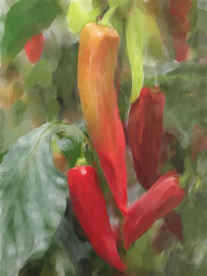 Chillie Painting - Chili Peppers by Enzie Shahmiri