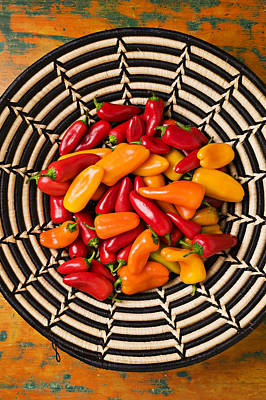 Bellpeppers Photograph - Chili Peppers In Basket  by Garry Gay