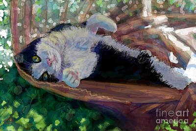 Cats Painting - Chilling Cat  by Angie Braun