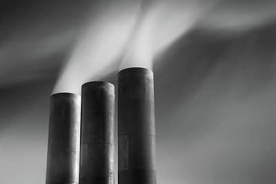 Built Structure Photograph - Chimneys Billowing by Mark Voce Photography