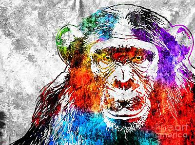 Chimpanzee Mixed Media - Chimp Grunge by Daniel Janda