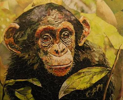 Mosaic Mixed Media - Chimp Watch by Claire Muller