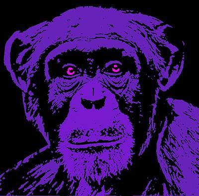 Chimpanzee Mixed Media - Chimpanzee-5 Blue by Otis Porritt