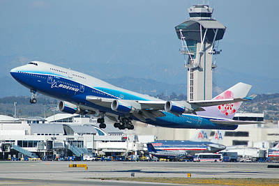 747 Photograph - China Airlines Boeing 747 Dreamliner Lax by Brian Lockett