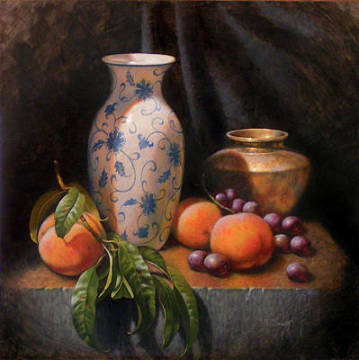 China Brass And Peaches Print by Timothy Jones