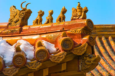 Rooftop Photograph - China Forbidden City Roof Decoration by Sebastian Musial