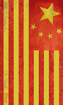 Chinese American Flag Vertical Original by Tony Rubino