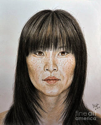 Beauty Drawing - Chinese Beauty With Bangs by jim Fitzpatrick