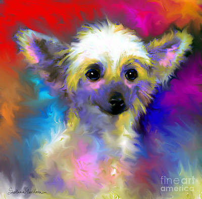 Custom Pet Portrait Drawing - Chinese Crested Dog Puppy Painting Print by Svetlana Novikova