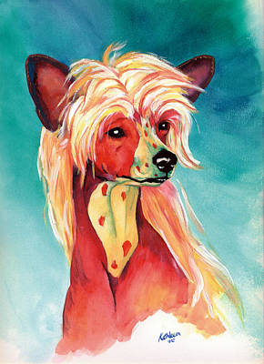 Chinese Crested Sunset Print by Kathleen Sepulveda