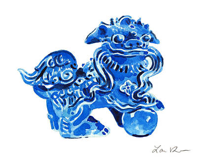 Chinese Foo Dog - Fu Guardian Lion Blue Ceramic Chinoiserie Print by Laura Row