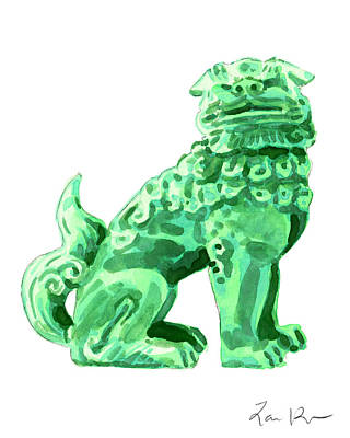 Buddhist Painting - Chinese Foo Dog - Fu Guardian Lion Jade Green Carved Asian Antique Chinoiserie by Laura Row