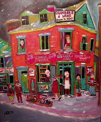 Painting - Chinese Food Corner Store Montreal by Michael Litvack
