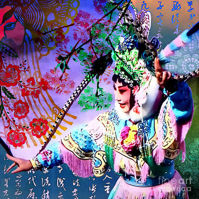 Hong Kong Mixed Media - Chinese Opera  by Stacey Chiew