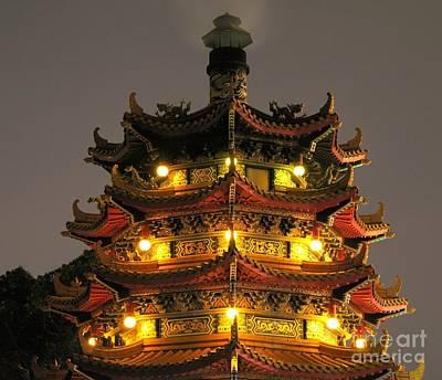 Chinese Pagoda By Night Print by Yali Shi
