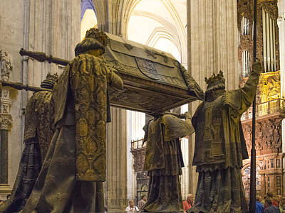 Retablo Photograph - Chirstopher Columbus Burial Site - Cathedral Of Seville - Seville Spain by Jon Berghoff