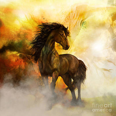 Stallion Digital Art - Chitto Black Spirit Horse by Shanina Conway