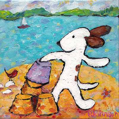 Sand Castles Painting - Chloe At The Beach by Peggy Johnson