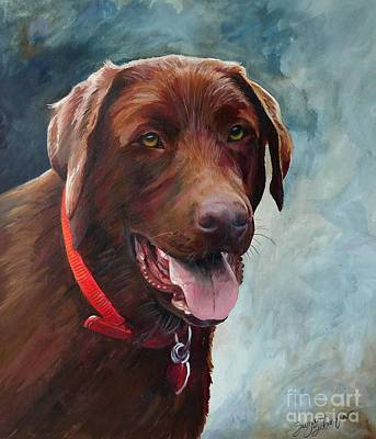 Purebred Painting - Chocolate Lab Portrait by Suzanne Schaefer