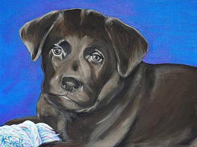 Chocolate Labrador Retriever Painting - Chocolate Puppy by Kirsten Sneath