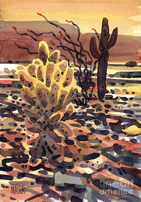 Sonoran Desert Painting - Cholla Saguaro And Ocotillo by Donald Maier