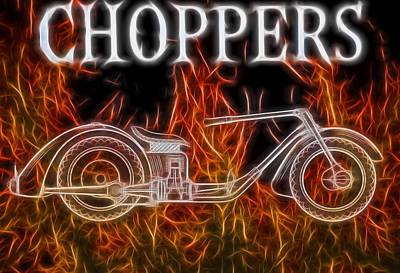 Motorcycle Mixed Media - Chopper Motorcycle In Flames by Dan Sproul
