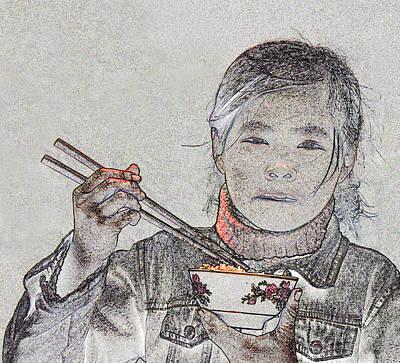 Chopsticks And Rice Print by Jim Justinick